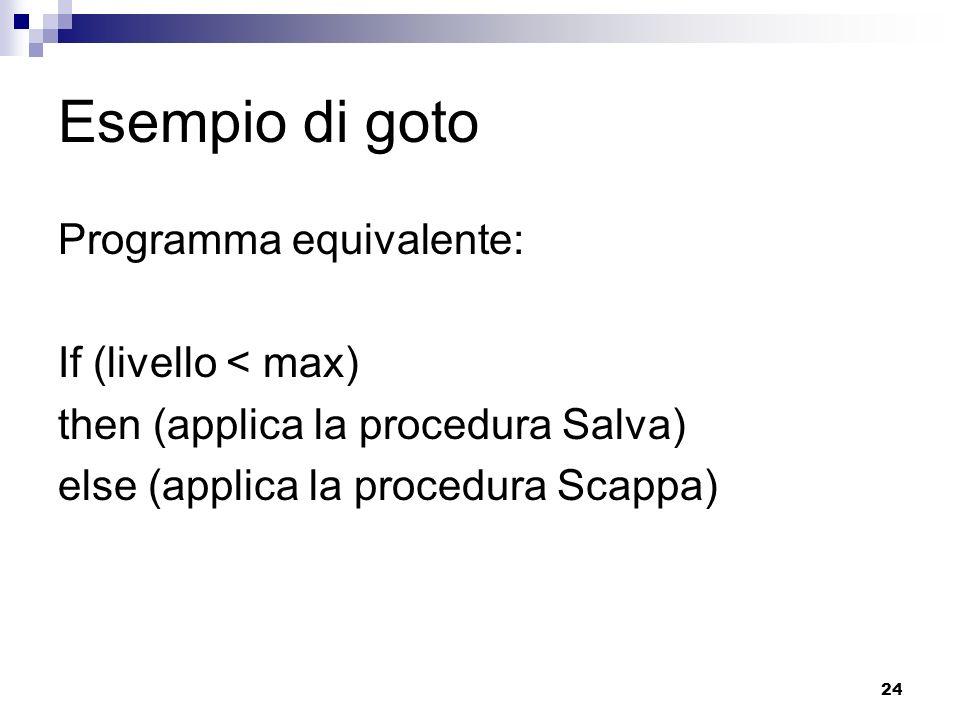 24 Esempio di goto Programma equivalente: If (livello < max) then (applica la procedura Salva) else (applica la procedura Scappa)