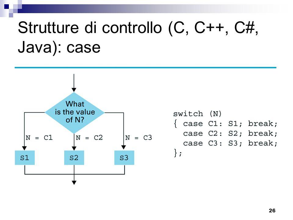 26 Strutture di controllo (C, C++, C#, Java): case