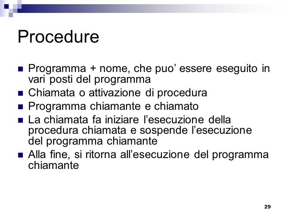 29 Procedure Programma + nome, che puo essere eseguito in vari posti del programma Chiamata o attivazione di procedura Programma chiamante e chiamato