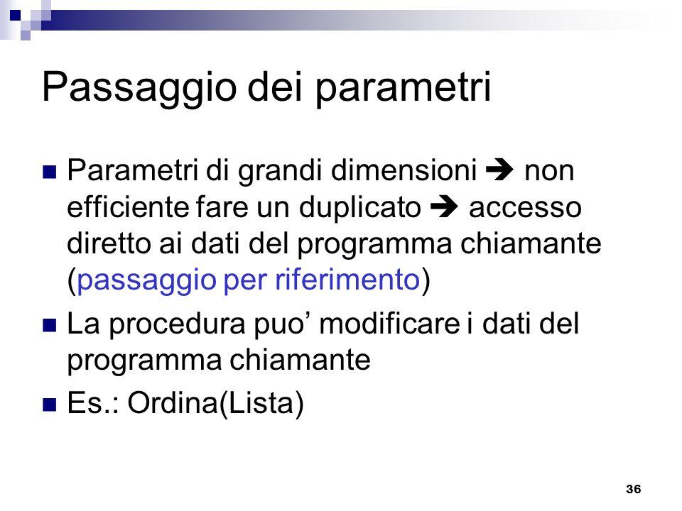 36 Passaggio dei parametri Parametri di grandi dimensioni non efficiente fare un duplicato accesso diretto ai dati del programma chiamante (passaggio