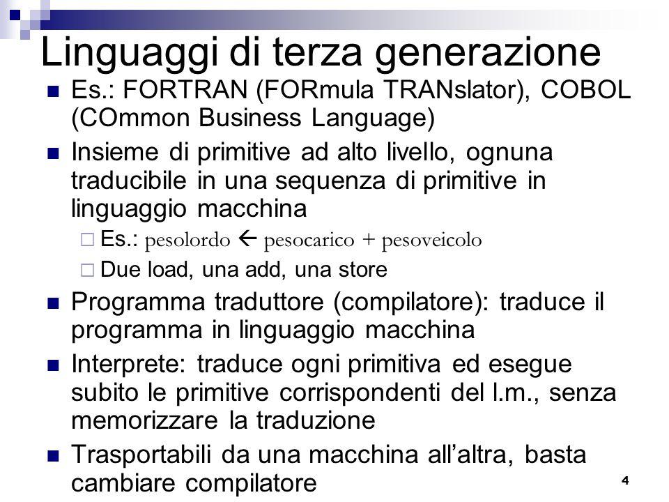 4 Linguaggi di terza generazione Es.: FORTRAN (FORmula TRANslator), COBOL (COmmon Business Language) Insieme di primitive ad alto livello, ognuna trad