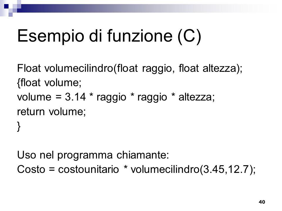 40 Esempio di funzione (C) Float volumecilindro(float raggio, float altezza); {float volume; volume = 3.14 * raggio * raggio * altezza; return volume;