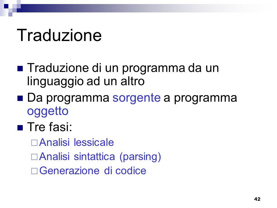 42 Traduzione Traduzione di un programma da un linguaggio ad un altro Da programma sorgente a programma oggetto Tre fasi: Analisi lessicale Analisi si
