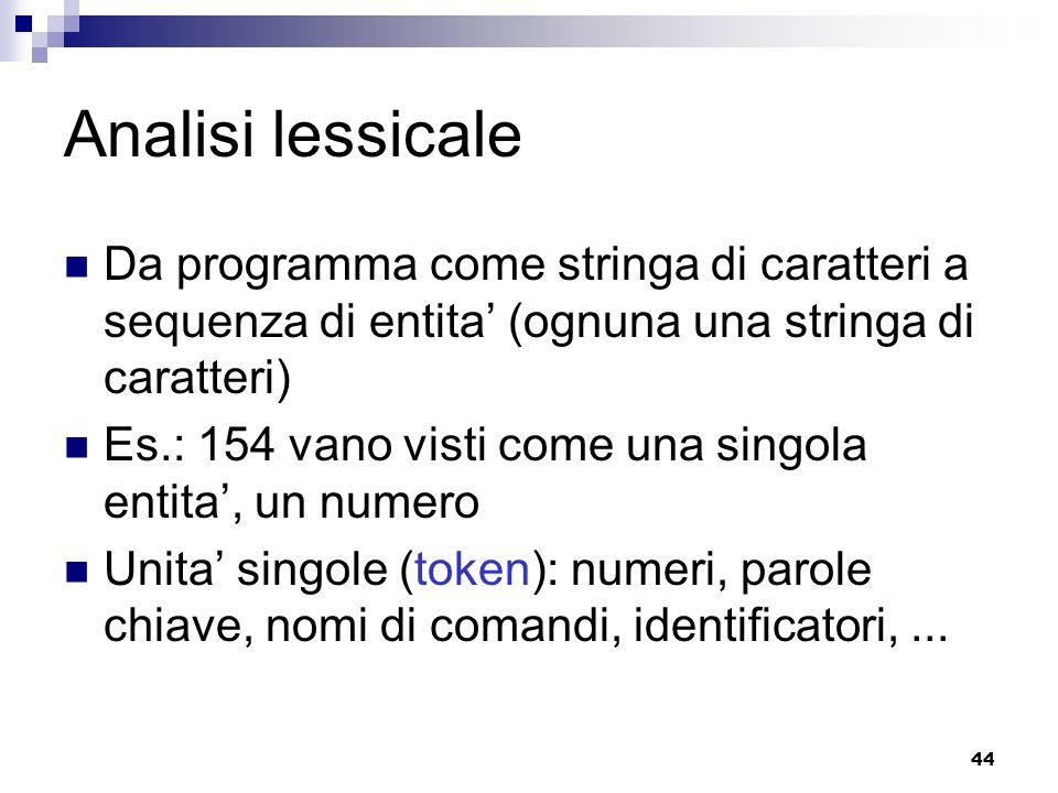44 Analisi lessicale Da programma come stringa di caratteri a sequenza di entita (ognuna una stringa di caratteri) Es.: 154 vano visti come una singol