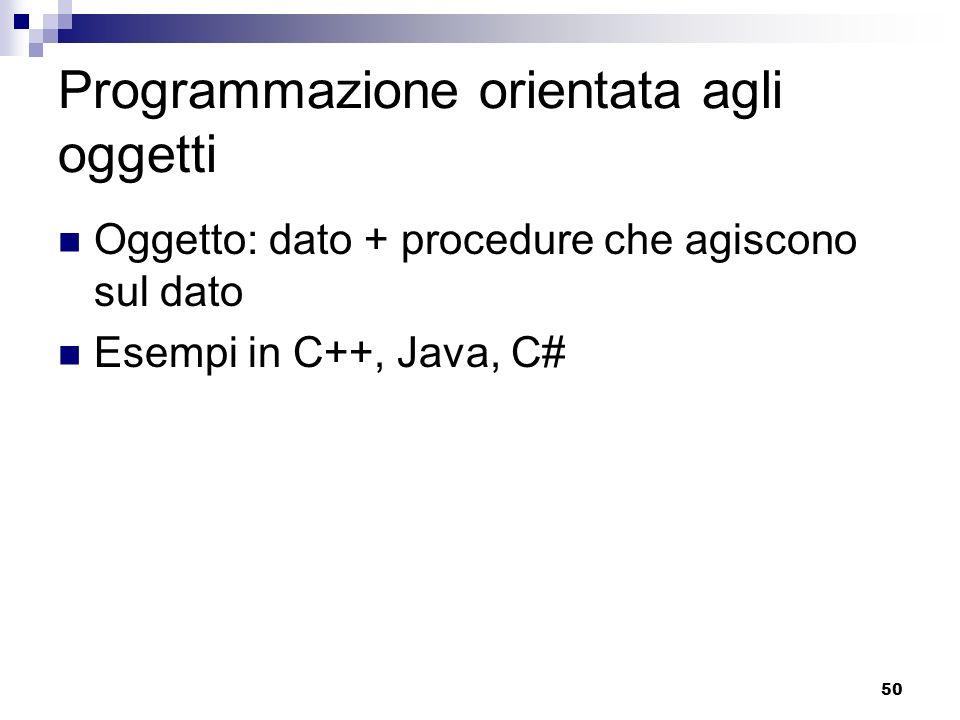 50 Programmazione orientata agli oggetti Oggetto: dato + procedure che agiscono sul dato Esempi in C++, Java, C#