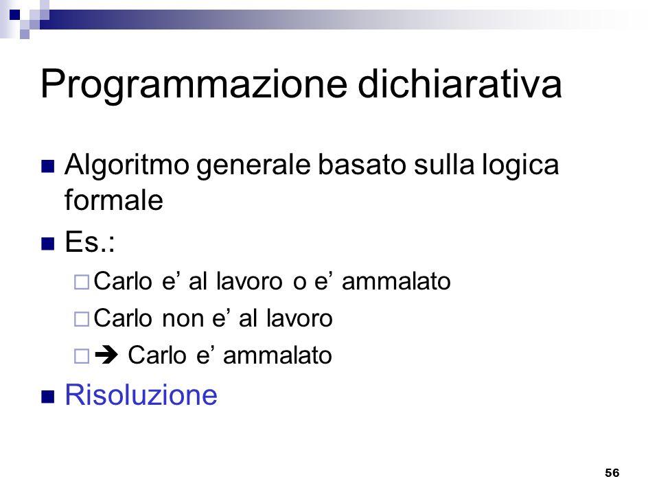 56 Programmazione dichiarativa Algoritmo generale basato sulla logica formale Es.: Carlo e al lavoro o e ammalato Carlo non e al lavoro Carlo e ammala