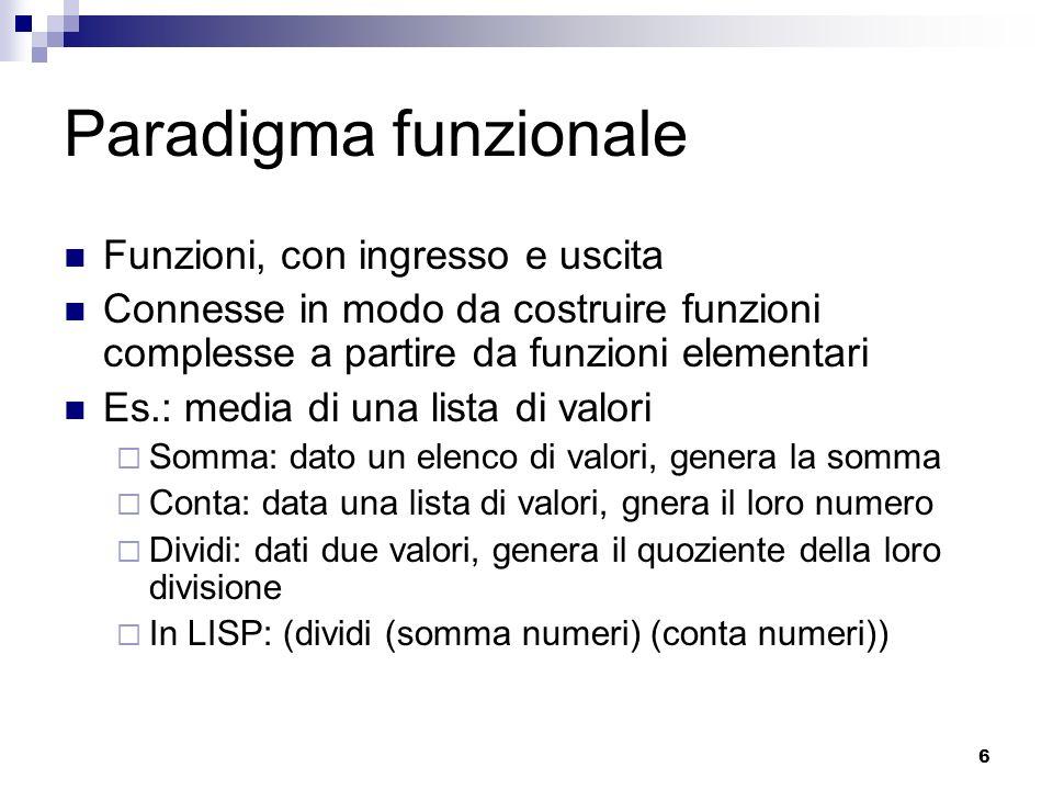 6 Paradigma funzionale Funzioni, con ingresso e uscita Connesse in modo da costruire funzioni complesse a partire da funzioni elementari Es.: media di