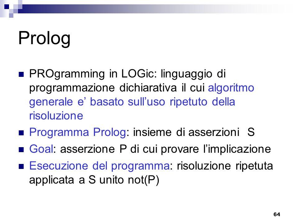 64 Prolog PROgramming in LOGic: linguaggio di programmazione dichiarativa il cui algoritmo generale e basato sulluso ripetuto della risoluzione Progra