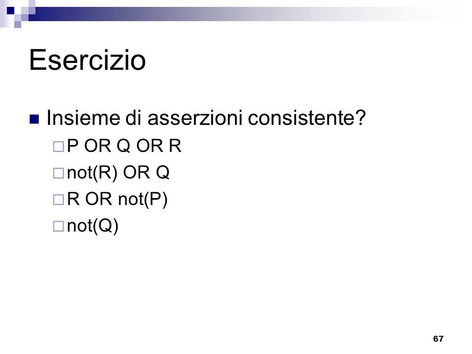 67 Esercizio Insieme di asserzioni consistente? P OR Q OR R not(R) OR Q R OR not(P) not(Q)