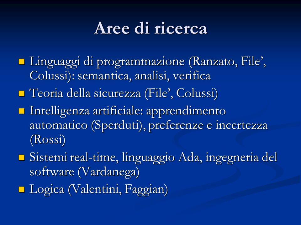 Aree di ricerca Linguaggi di programmazione (Ranzato, File, Colussi): semantica, analisi, verifica Linguaggi di programmazione (Ranzato, File, Colussi
