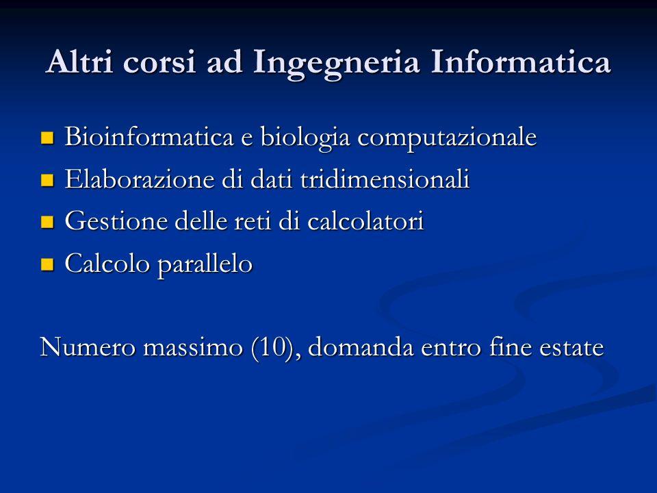 Altri corsi ad Ingegneria Informatica Bioinformatica e biologia computazionale Bioinformatica e biologia computazionale Elaborazione di dati tridimens