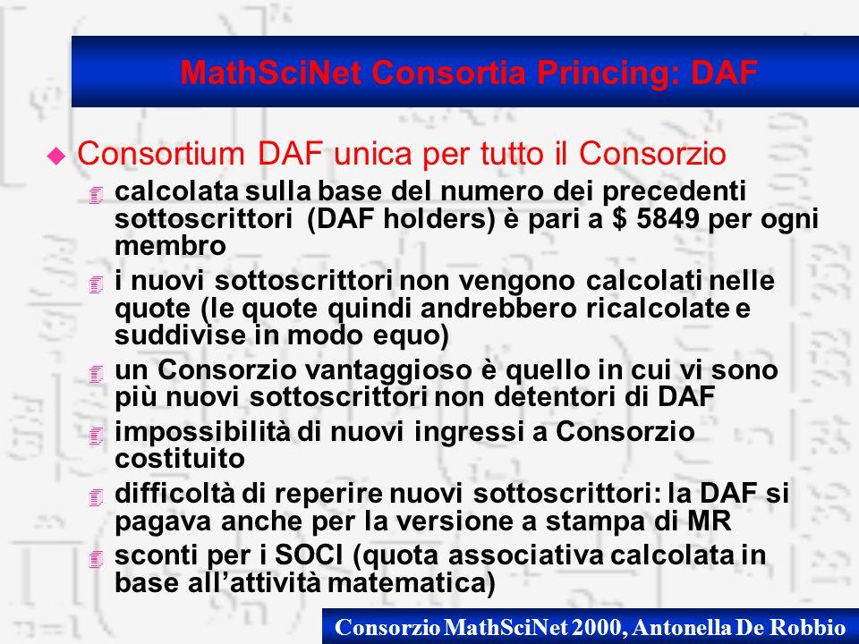 Consorzio MathSciNet 2000, Antonella De Robbio u Consortium DAF unica per tutto il Consorzio 4 calcolata sulla base del numero dei precedenti sottoscrittori (DAF holders) è pari a $ 5849 per ogni membro 4 i nuovi sottoscrittori non vengono calcolati nelle quote (le quote quindi andrebbero ricalcolate e suddivise in modo equo) 4 un Consorzio vantaggioso è quello in cui vi sono più nuovi sottoscrittori non detentori di DAF 4 impossibilità di nuovi ingressi a Consorzio costituito 4 difficoltà di reperire nuovi sottoscrittori: la DAF si pagava anche per la versione a stampa di MR 4 sconti per i SOCI (quota associativa calcolata in base allattività matematica) MathSciNet Consortia Princing: DAF