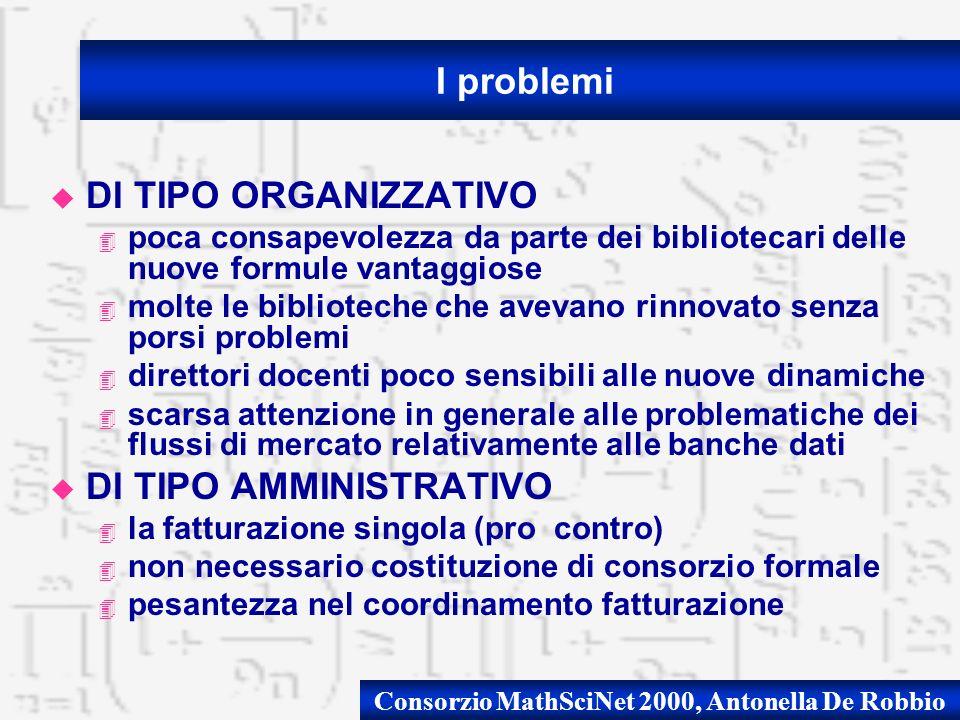 Consorzio MathSciNet 2000, Antonella De Robbio u DI TIPO ORGANIZZATIVO 4 poca consapevolezza da parte dei bibliotecari delle nuove formule vantaggiose