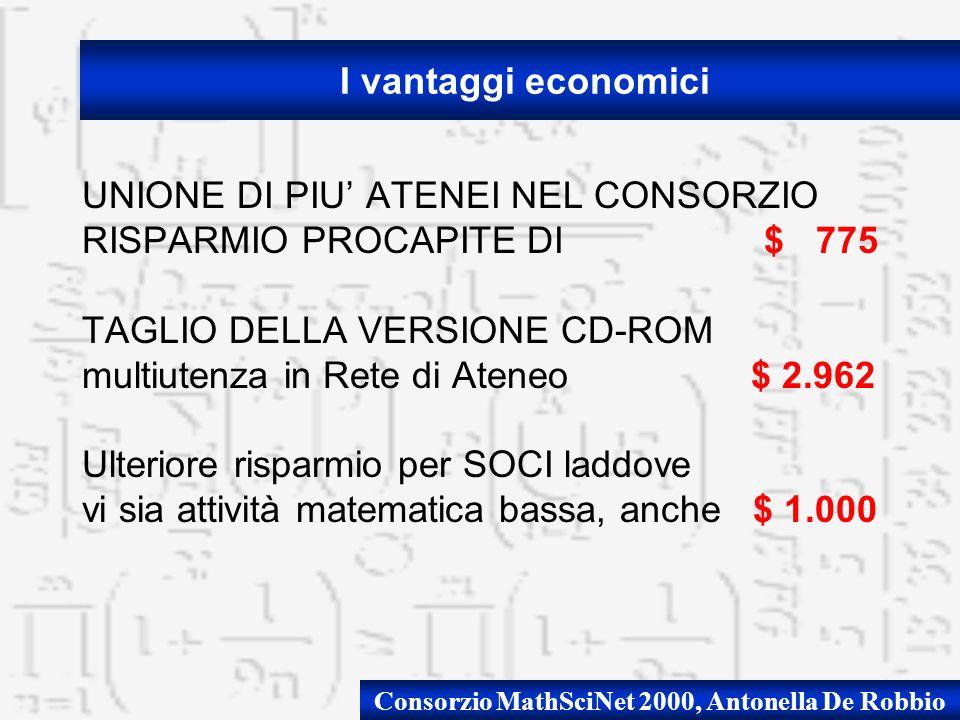 Consorzio MathSciNet 2000, Antonella De Robbio UNIONE DI PIU ATENEI NEL CONSORZIO RISPARMIO PROCAPITE DI $ 775 TAGLIO DELLA VERSIONE CD-ROM multiutenza in Rete di Ateneo $ 2.962 Ulteriore risparmio per SOCI laddove vi sia attività matematica bassa, anche $ 1.000 I vantaggi economici