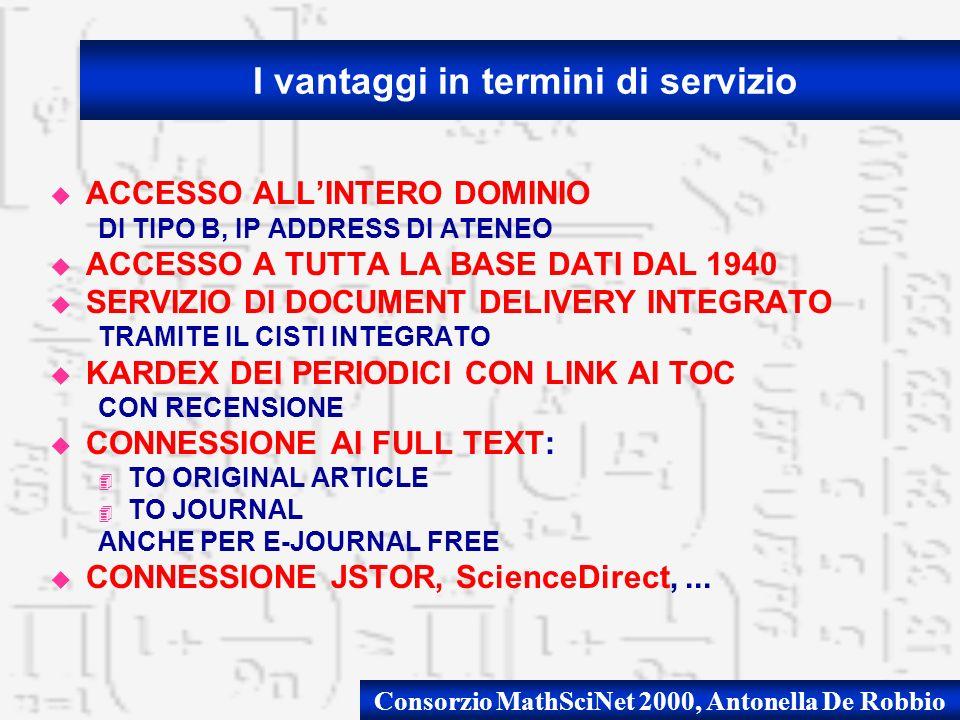 Consorzio MathSciNet 2000, Antonella De Robbio u ACCESSO ALLINTERO DOMINIO DI TIPO B, IP ADDRESS DI ATENEO u ACCESSO A TUTTA LA BASE DATI DAL 1940 u S