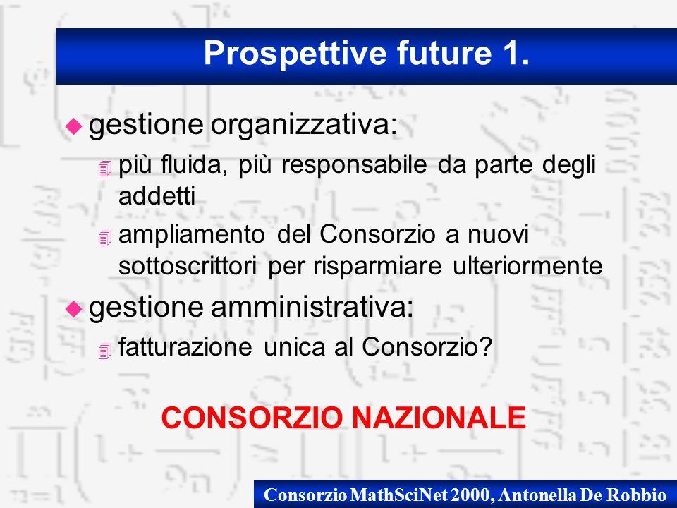 u gestione organizzativa: 4 più fluida, più responsabile da parte degli addetti 4 ampliamento del Consorzio a nuovi sottoscrittori per risparmiare ult