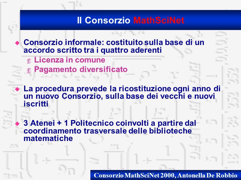 Consorzio MathSciNet 2000, Antonella De Robbio u Consorzio informale: costituito sulla base di un accordo scritto tra i quattro aderenti 4 Licenza in