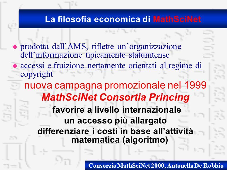 Consorzio MathSciNet 2000, Antonella De Robbio u prodotta dallAMS, riflette unorganizzazione dellinformazione tipicamente statunitense u accessi e fru