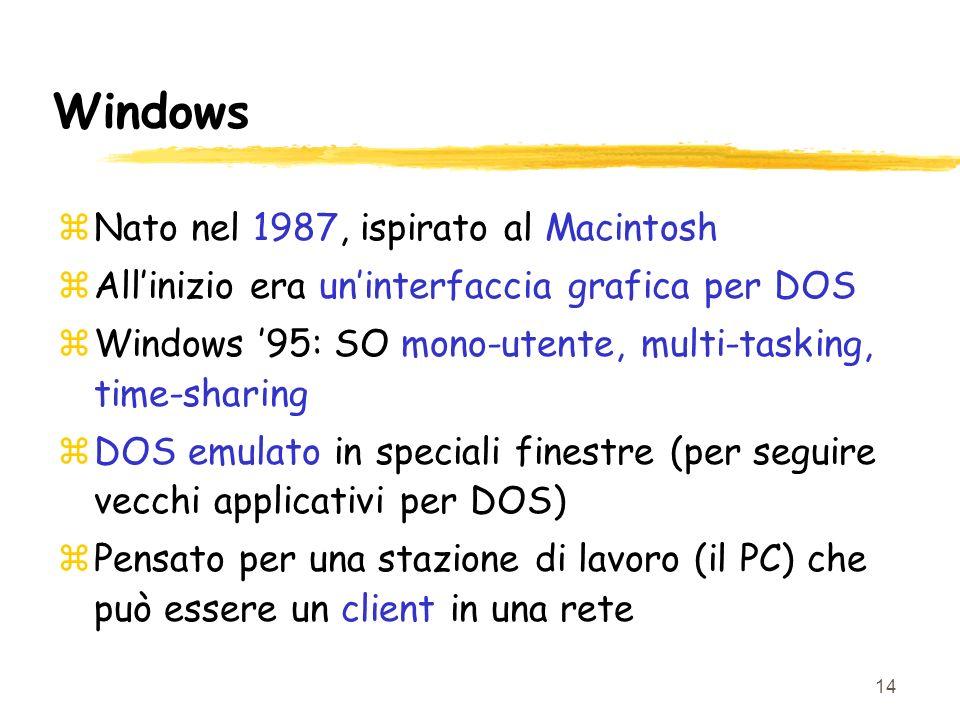 14 Windows zNato nel 1987, ispirato al Macintosh zAllinizio era uninterfaccia grafica per DOS zWindows 95: SO mono-utente, multi-tasking, time-sharing zDOS emulato in speciali finestre (per seguire vecchi applicativi per DOS) zPensato per una stazione di lavoro (il PC) che può essere un client in una rete