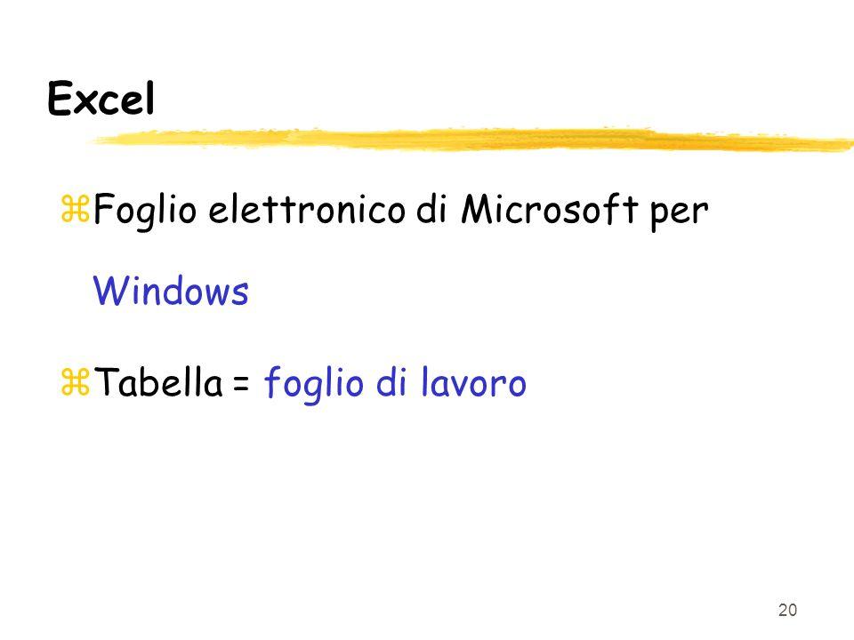 20 Excel zFoglio elettronico di Microsoft per Windows zTabella = foglio di lavoro