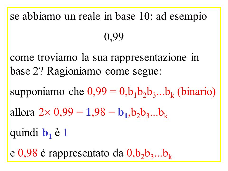 se abbiamo un reale in base 10: ad esempio 0,99 come troviamo la sua rappresentazione in base 2? Ragioniamo come segue: supponiamo che 0,99 = 0,b 1 b