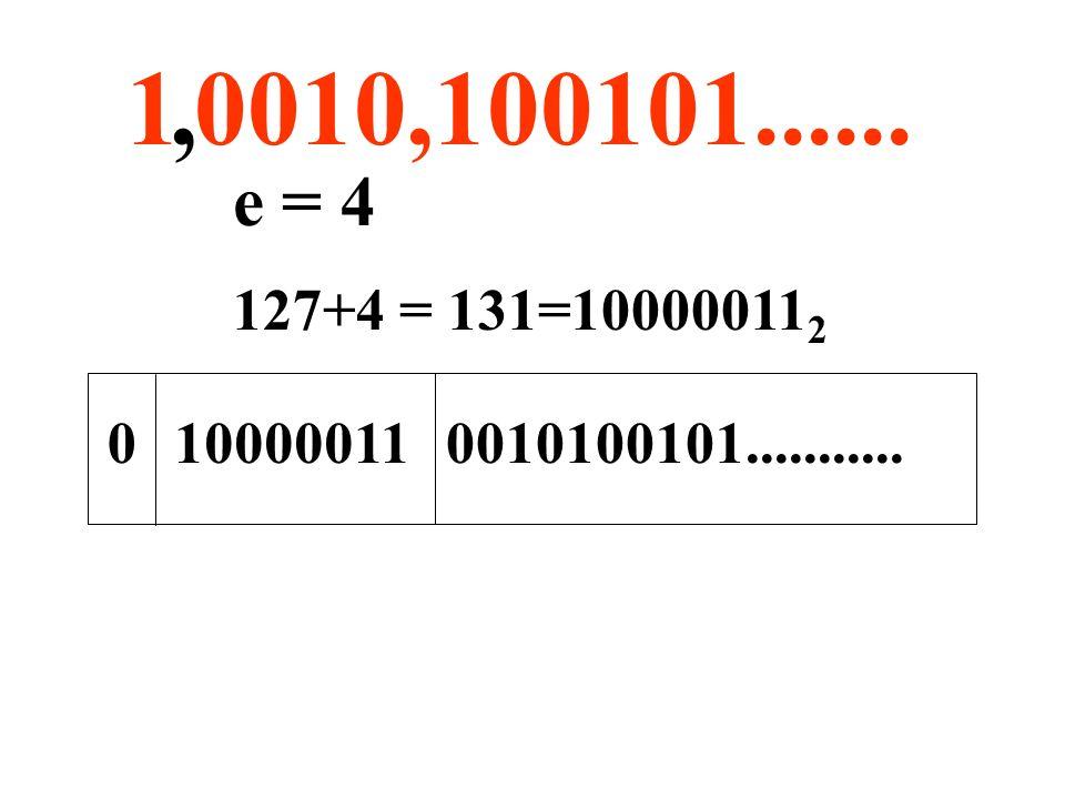 1 0010,100101......, e = 4 00010100101...........10000011 127+4 = 131=10000011 2
