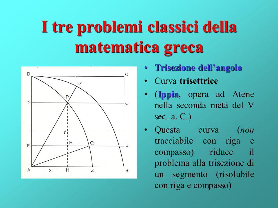 I tre problemi classici della matematica greca Trisezione dellangoloTrisezione dellangolo Curva trisettrice Ippia(Ippia, opera ad Atene nella seconda