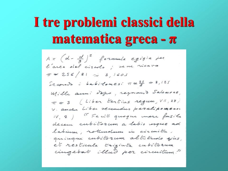 I tre problemi classici della matematica greca - π