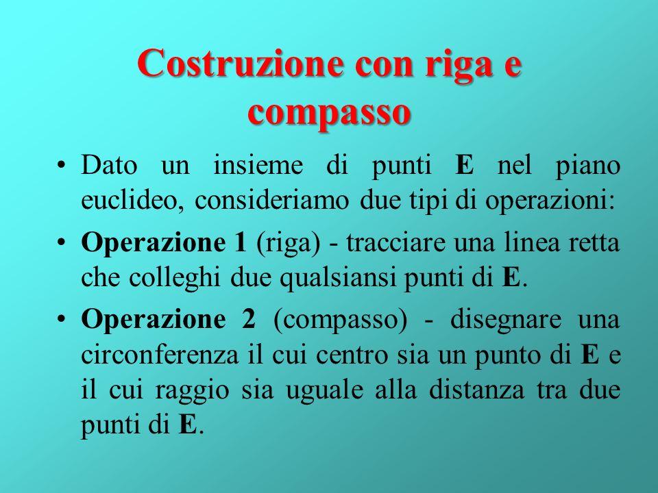Costruzione con riga e compasso Dato un insieme di punti E nel piano euclideo, consideriamo due tipi di operazioni: Operazione 1 (riga) - tracciare un