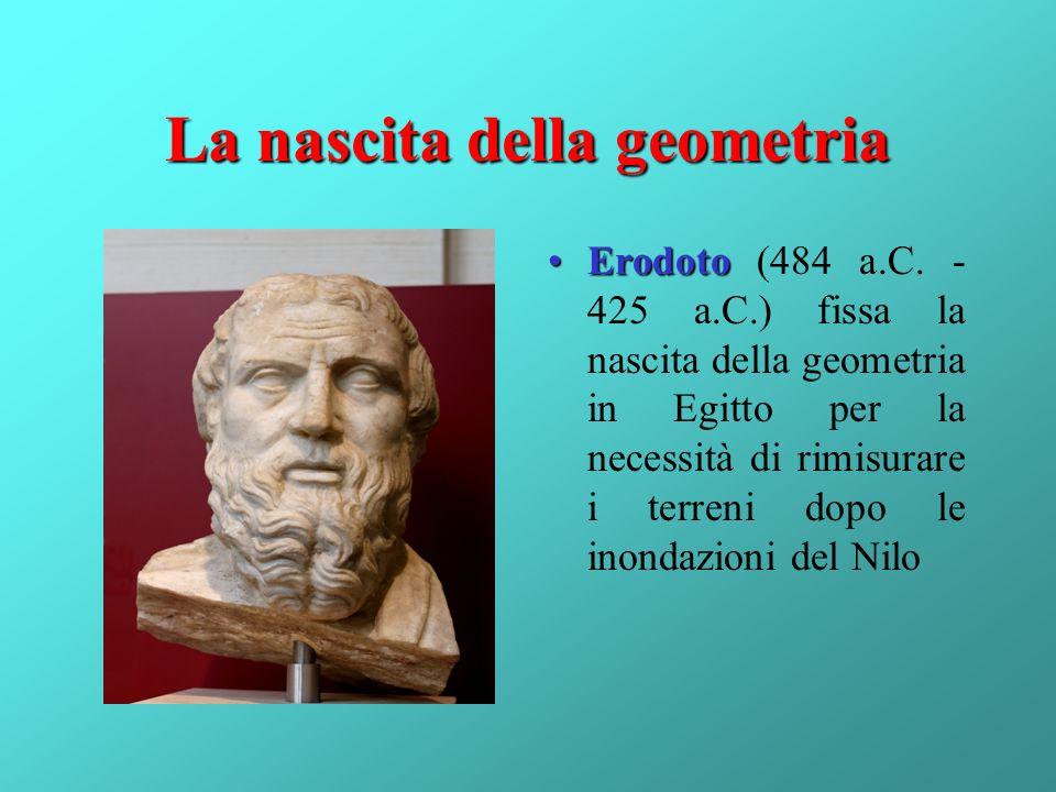 La nascita della geometria ErodotoErodoto (484 a.C. - 425 a.C.) fissa la nascita della geometria in Egitto per la necessità di rimisurare i terreni do