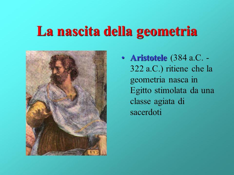 La nascita della geometria AristoteleAristotele (384 a.C. - 322 a.C.) ritiene che la geometria nasca in Egitto stimolata da una classe agiata di sacer