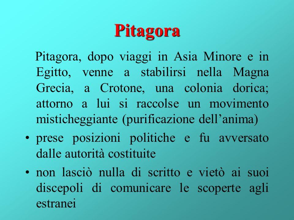 Pitagora Pitagora, dopo viaggi in Asia Minore e in Egitto, venne a stabilirsi nella Magna Grecia, a Crotone, una colonia dorica; attorno a lui si racc
