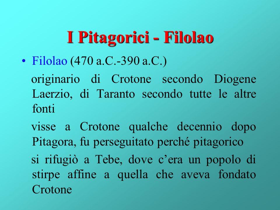 I Pitagorici - Filolao Filolao (470 a.C.-390 a.C.) originario di Crotone secondo Diogene Laerzio, di Taranto secondo tutte le altre fonti visse a Crot