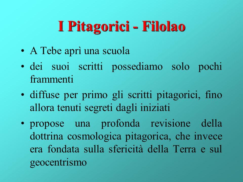 I Pitagorici - Filolao A Tebe aprì una scuola dei suoi scritti possediamo solo pochi frammenti diffuse per primo gli scritti pitagorici, fino allora t