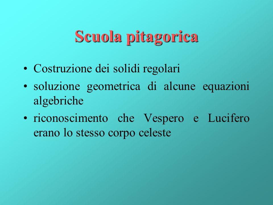 Scuola pitagorica Costruzione dei solidi regolari soluzione geometrica di alcune equazioni algebriche riconoscimento che Vespero e Lucifero erano lo s