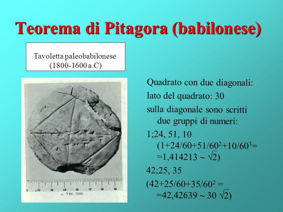 Teorema di Pitagora (babilonese) Quadrato con due diagonali: lato del quadrato: 30 sulla diagonale sono scritti due gruppi di numeri: 1;24, 51, 10 (1+