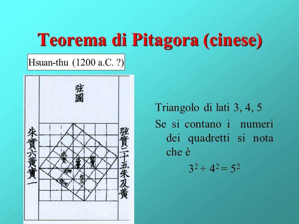 Teorema di Pitagora (cinese) Triangolo di lati 3, 4, 5 Se si contano i numeri dei quadretti si nota che è 3 2 + 4 2 = 5 2 Hsuan-thu (1200 a.C. ?)