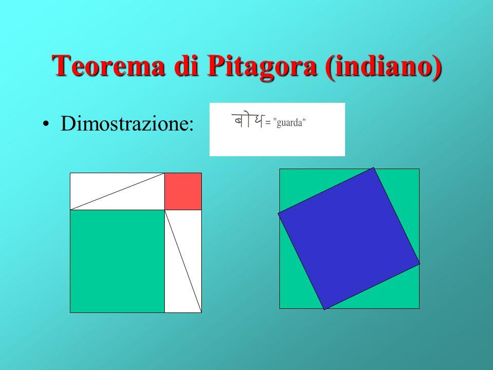 Teorema di Pitagora (indiano) Dimostrazione: