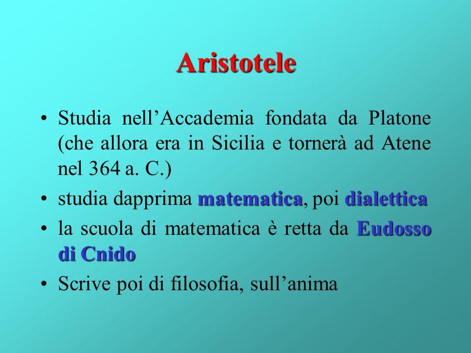 Aristotele Studia nellAccademia fondata da Platone (che allora era in Sicilia e tornerà ad Atene nel 364 a. C.) matematicadialetticastudia dapprima ma