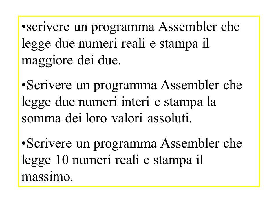 scrivere un programma Assembler che legge due numeri reali e stampa il maggiore dei due.
