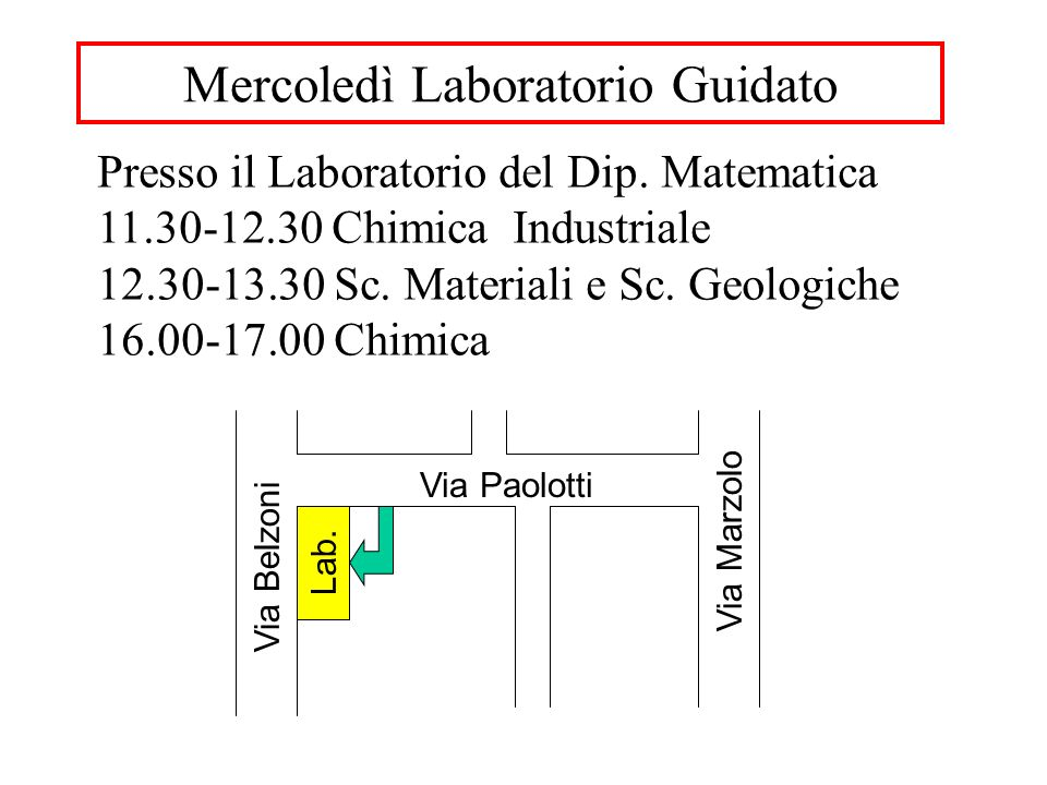 Mercoledì Laboratorio Guidato Presso il Laboratorio del Dip.