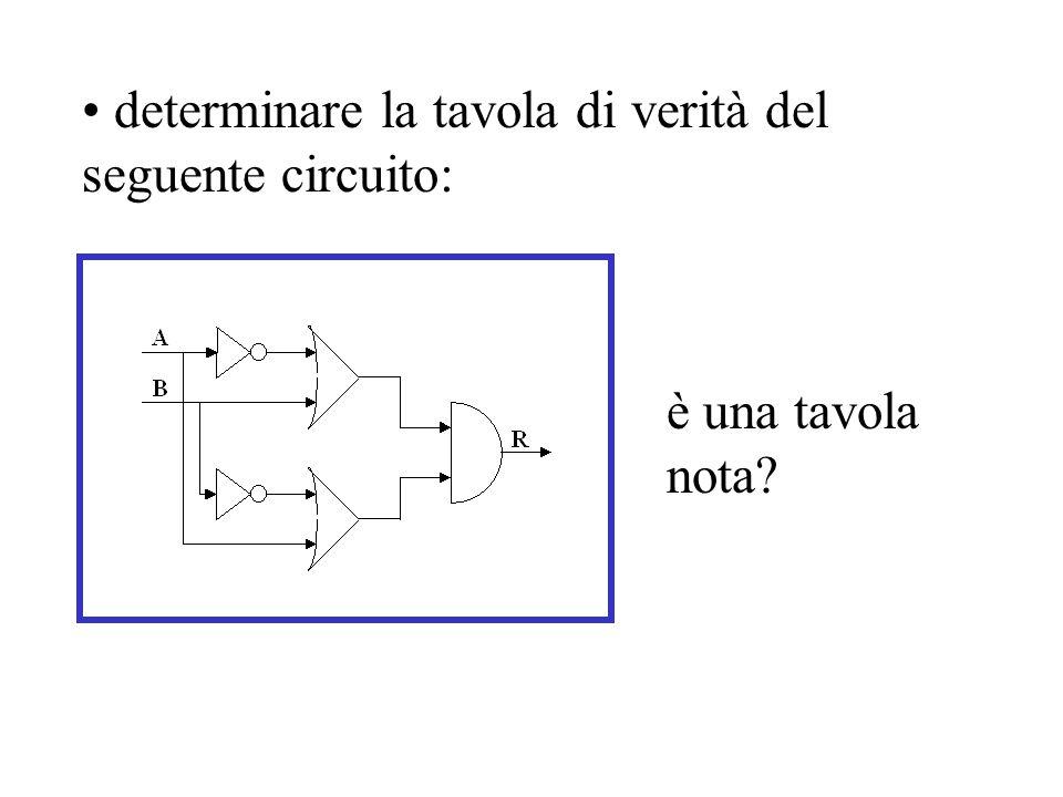 determinare la tavola di verità del seguente circuito: è una tavola nota