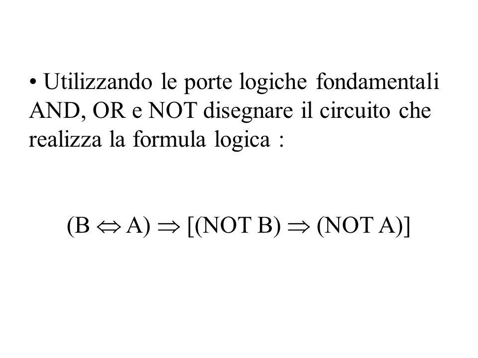 Utilizzando le porte logiche fondamentali AND, OR e NOT disegnare il circuito che realizza la formula logica : (B A) [(NOT B) (NOT A)]