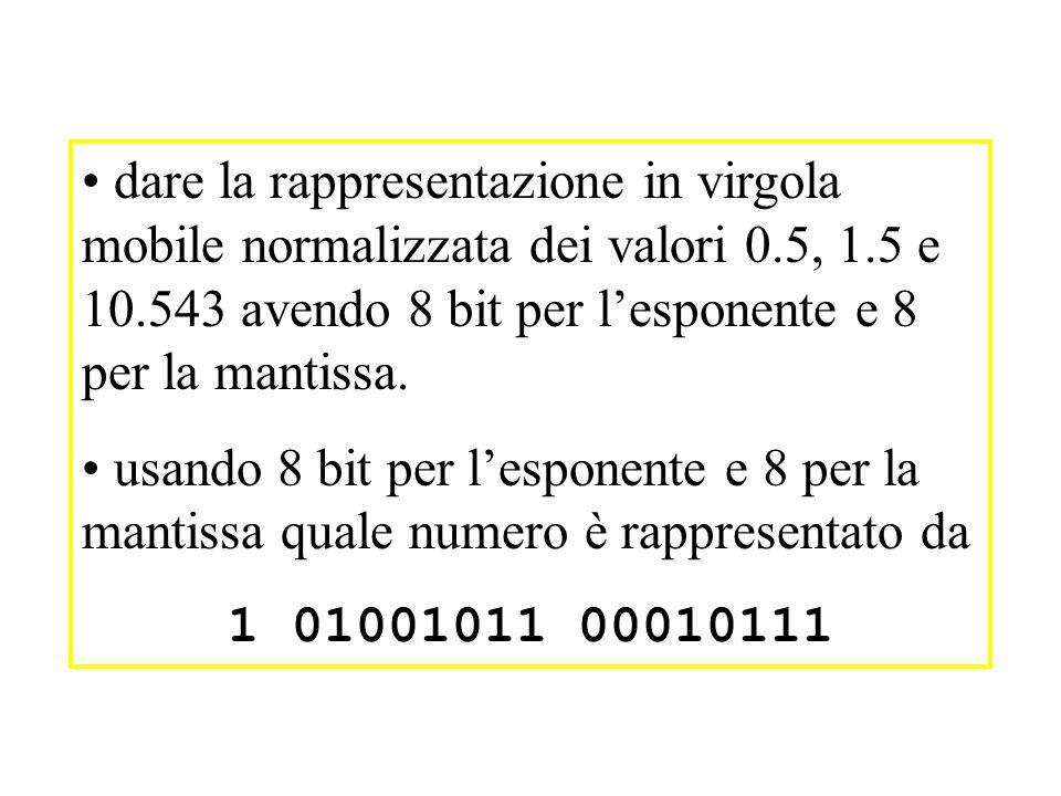 dare la rappresentazione in virgola mobile normalizzata dei valori 0.5, 1.5 e 10.543 avendo 8 bit per lesponente e 8 per la mantissa.