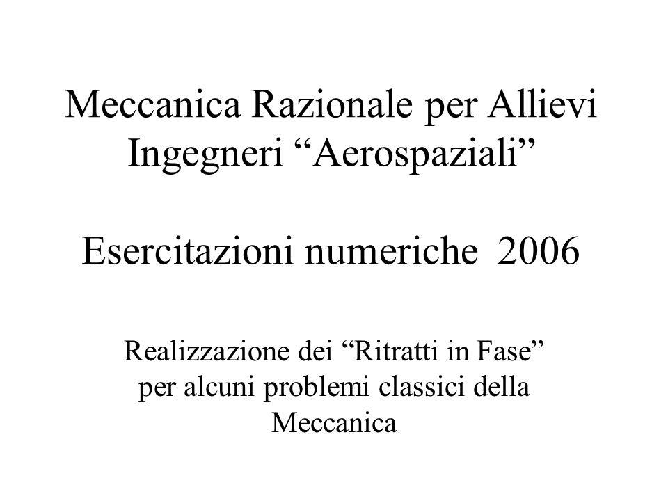 Meccanica Razionale per Allievi Ingegneri Aerospaziali Esercitazioni numeriche 2006 Realizzazione dei Ritratti in Fase per alcuni problemi classici de
