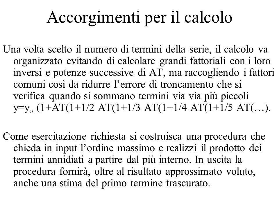 Accorgimenti per il calcolo Una volta scelto il numero di termini della serie, il calcolo va organizzato evitando di calcolare grandi fattoriali con i