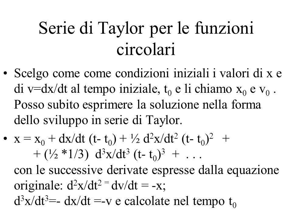 Serie di Taylor per le funzioni circolari Scelgo come come condizioni iniziali i valori di x e di v=dx/dt al tempo iniziale, t 0 e li chiamo x 0 e v 0