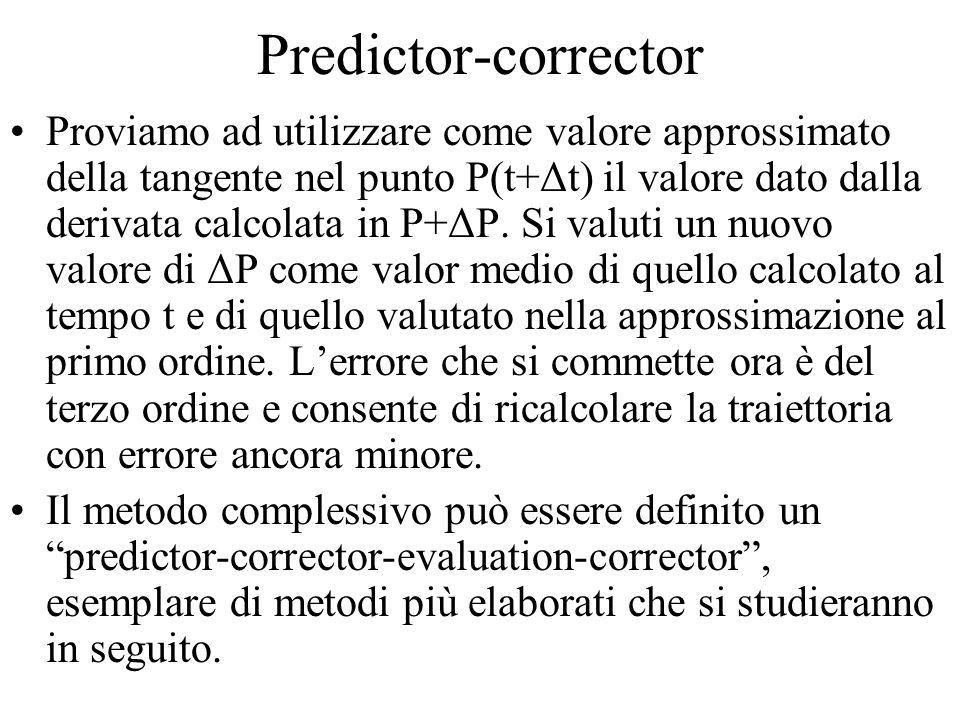 Predictor-corrector Proviamo ad utilizzare come valore approssimato della tangente nel punto P(t+Δt) il valore dato dalla derivata calcolata in P+ΔP.
