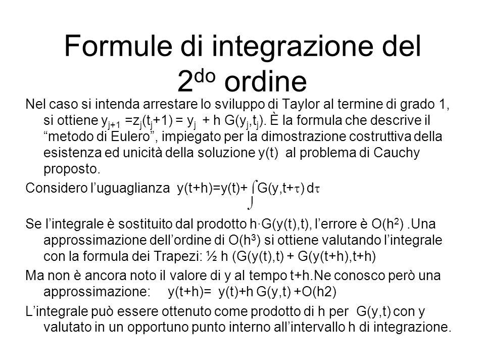 Formule di integrazione del 2 do ordine Nel caso si intenda arrestare lo sviluppo di Taylor al termine di grado 1, si ottiene y j+1 =z j (t j +1) = y