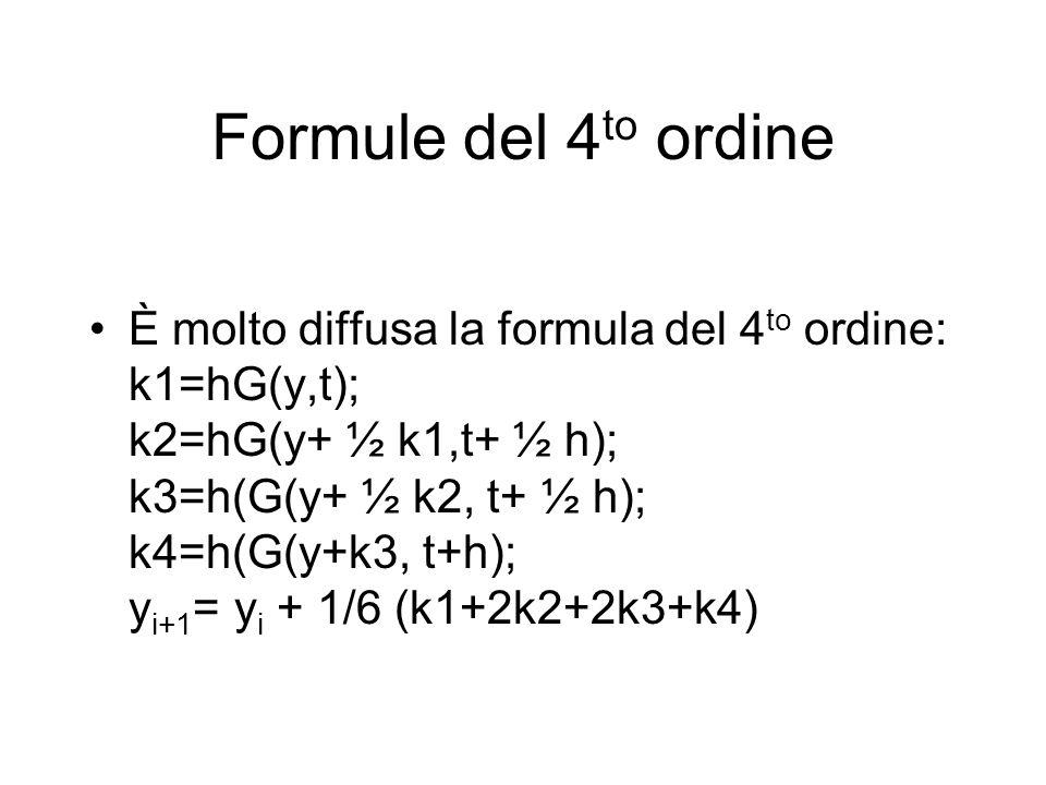 Formule del 4 to ordine È molto diffusa la formula del 4 to ordine: k1=hG(y,t); k2=hG(y+ ½ k1,t+ ½ h); k3=h(G(y+ ½ k2, t+ ½ h); k4=h(G(y+k3, t+h); y i